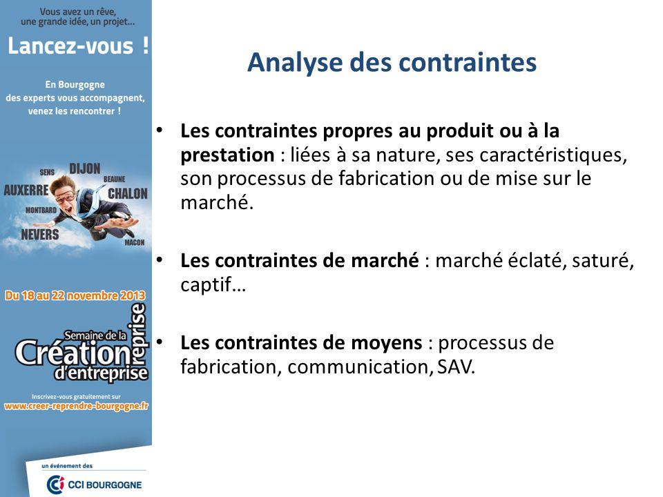 Analyse des contraintes Les contraintes propres au produit ou à la prestation : liées à sa nature, ses caractéristiques, son processus de fabrication