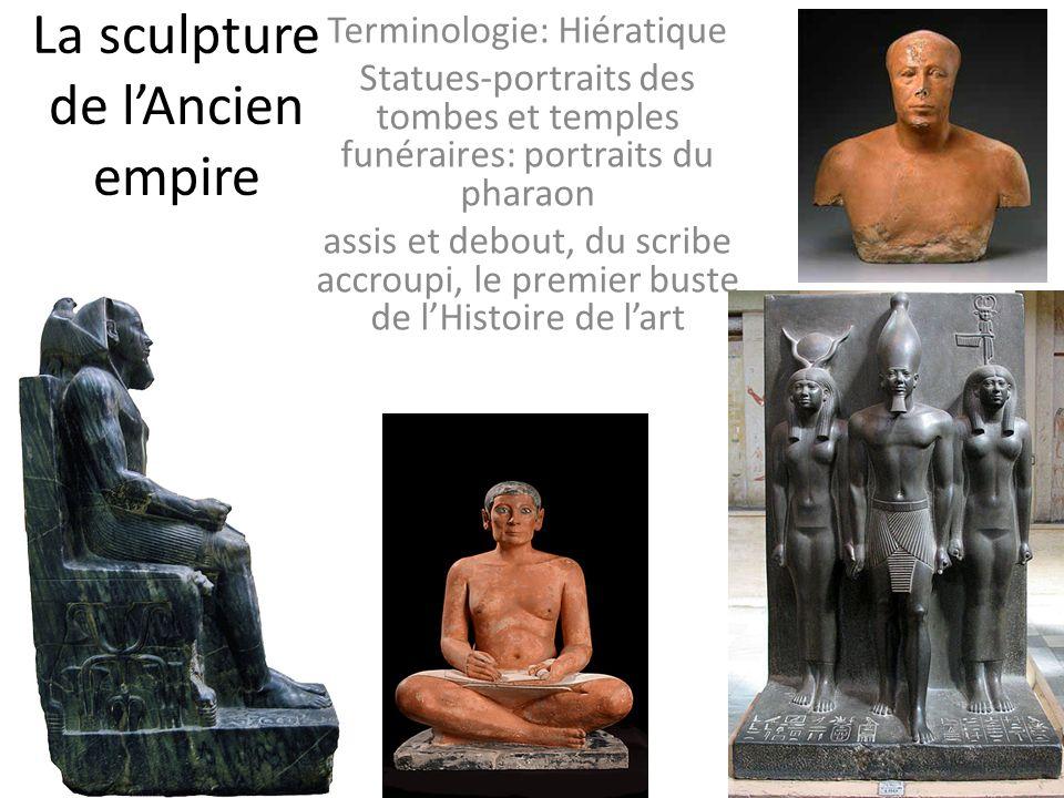 La sculpture de lAncien empire Terminologie: Hiératique Statues-portraits des tombes et temples funéraires: portraits du pharaon assis et debout, du s