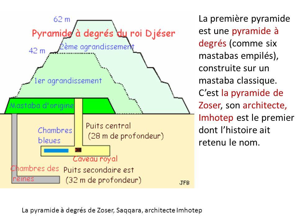 La première pyramide est une pyramide à degrés (comme six mastabas empilés), construite sur un mastaba classique. Cest la pyramide de Zoser, son archi