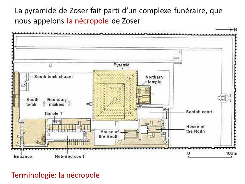 La pyramide de Zoser fait parti dun complexe funéraire, que nous appelons la nécropole de Zoser Terminologie: la nécropole