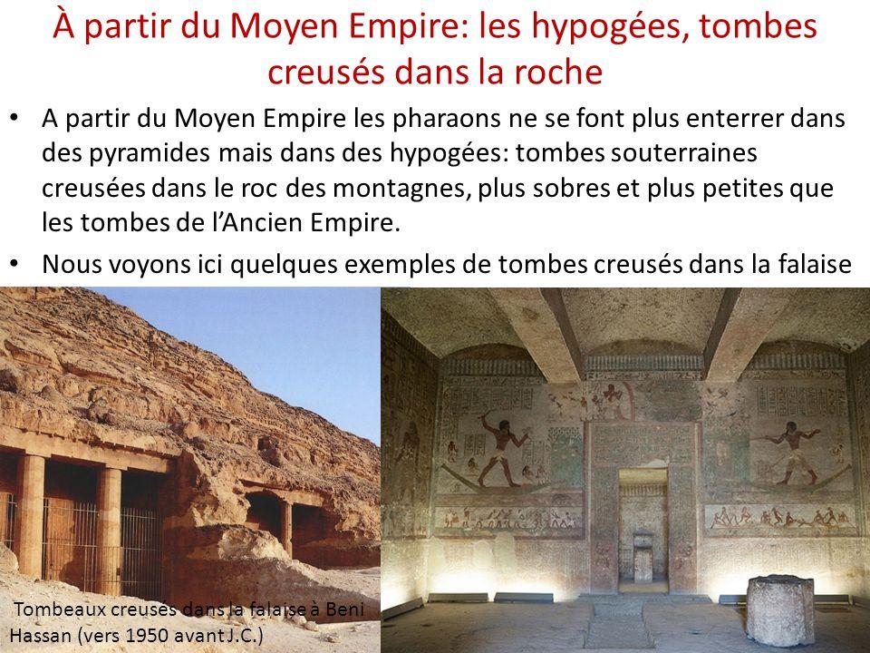 À partir du Moyen Empire: les hypogées, tombes creusés dans la roche A partir du Moyen Empire les pharaons ne se font plus enterrer dans des pyramides