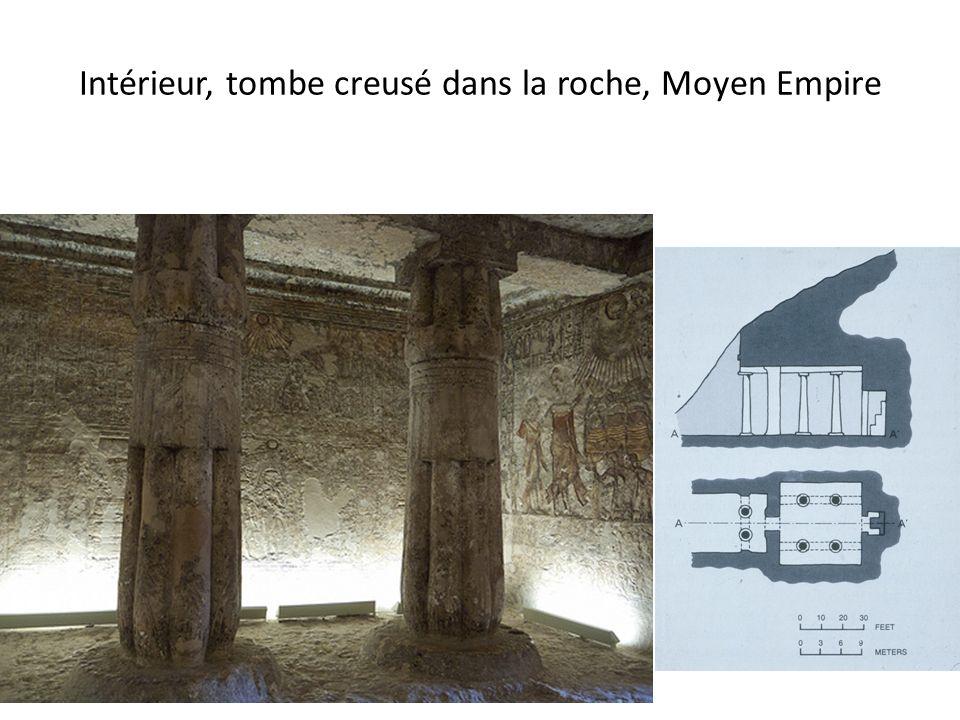 Intérieur, tombe creusé dans la roche, Moyen Empire