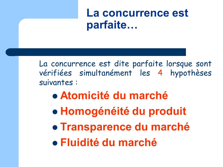 La concurrence est dite parfaite lorsque sont vérifiées simultanément les 4 hypothèses suivantes : Atomicité du marché Homogénéité du produit Transpar