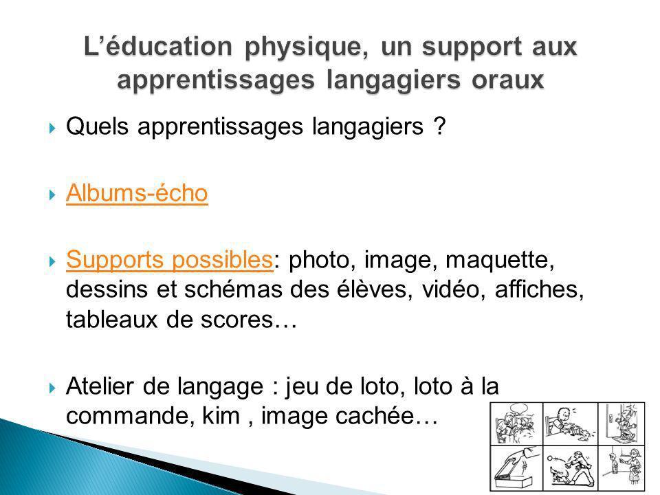Quels apprentissages langagiers ? Albums-écho Supports possibles: photo, image, maquette, dessins et schémas des élèves, vidéo, affiches, tableaux de