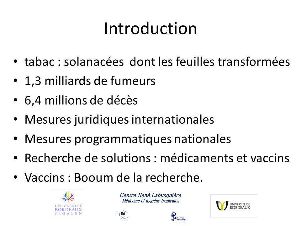 Introduction tabac : solanacées dont les feuilles transformées 1,3 milliards de fumeurs 6,4 millions de décès Mesures juridiques internationales Mesures programmatiques nationales Recherche de solutions : médicaments et vaccins Vaccins : Booum de la recherche.