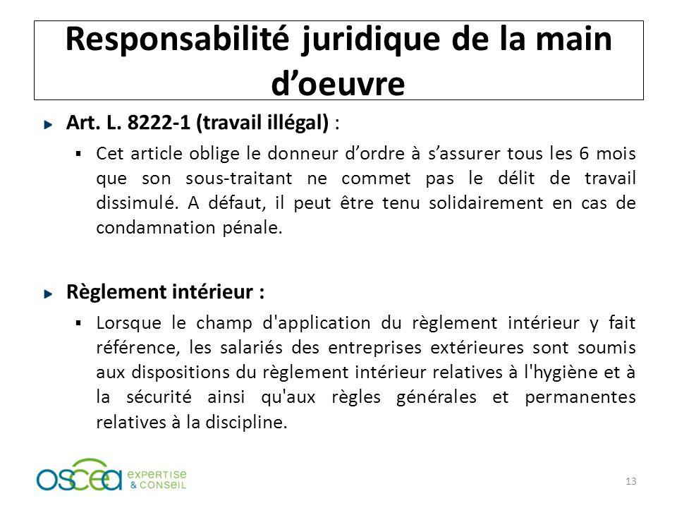 Responsabilité juridique de la main doeuvre Art.L.