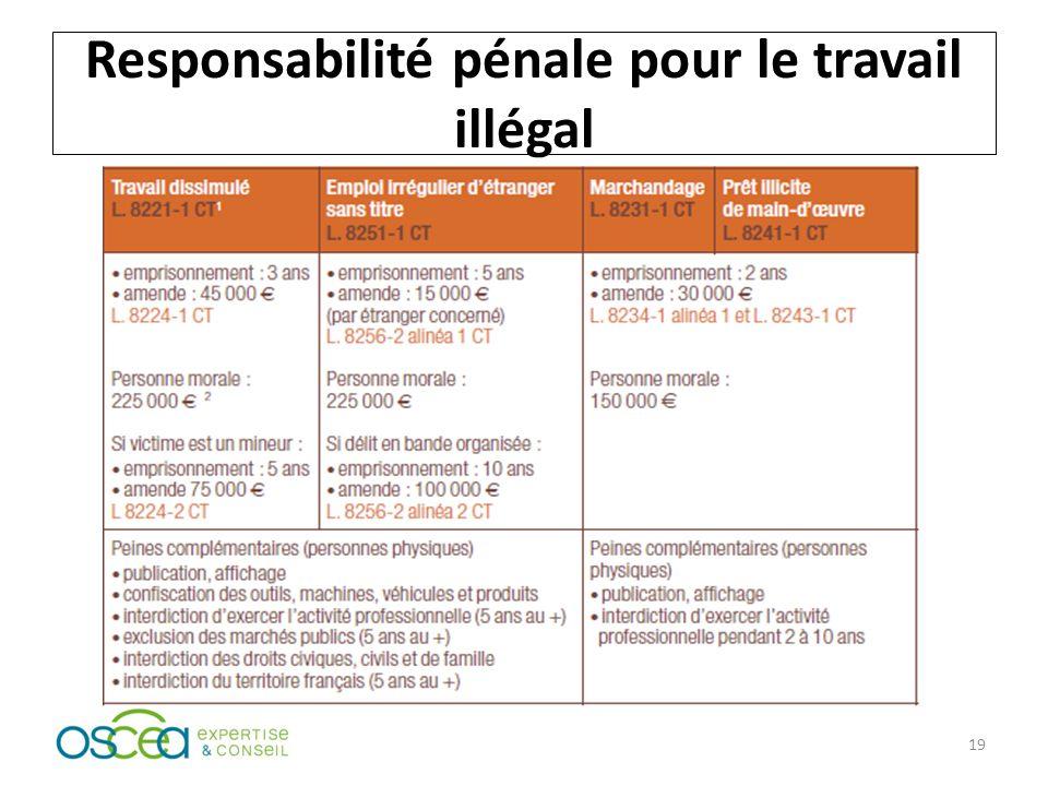 Responsabilité pénale pour le travail illégal 19