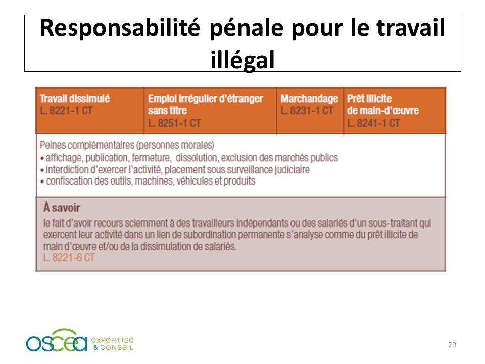 Responsabilité pénale pour le travail illégal 20