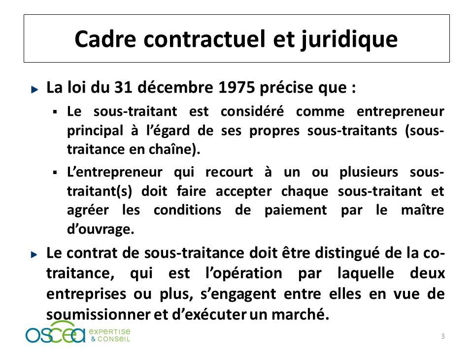Cadre contractuel et juridique La loi du 31 décembre 1975 précise que : Le sous-traitant est considéré comme entrepreneur principal à légard de ses propres sous-traitants (sous- traitance en chaîne).