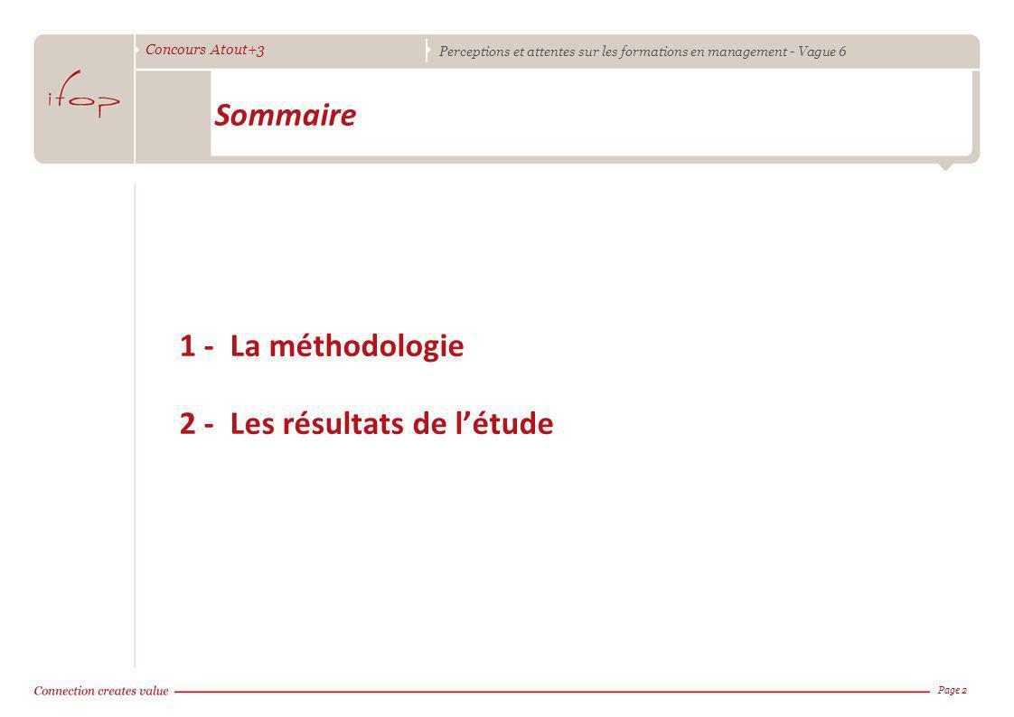 Concours Atout+3 Perceptions et attentes sur les formations en management - Vague 6 1 - La méthodologie 2 - Les résultats de létude Page 2 Sommaire