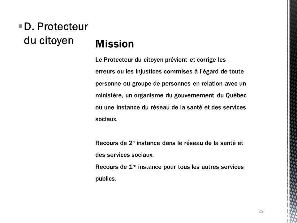 D. Protecteur du citoyen 22