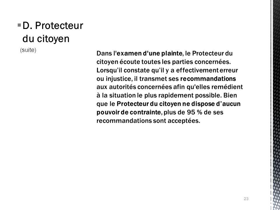 D. Protecteur du citoyen (suite) 23