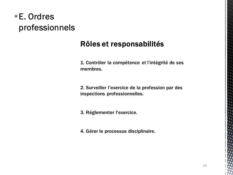 E. Ordres professionnels 26