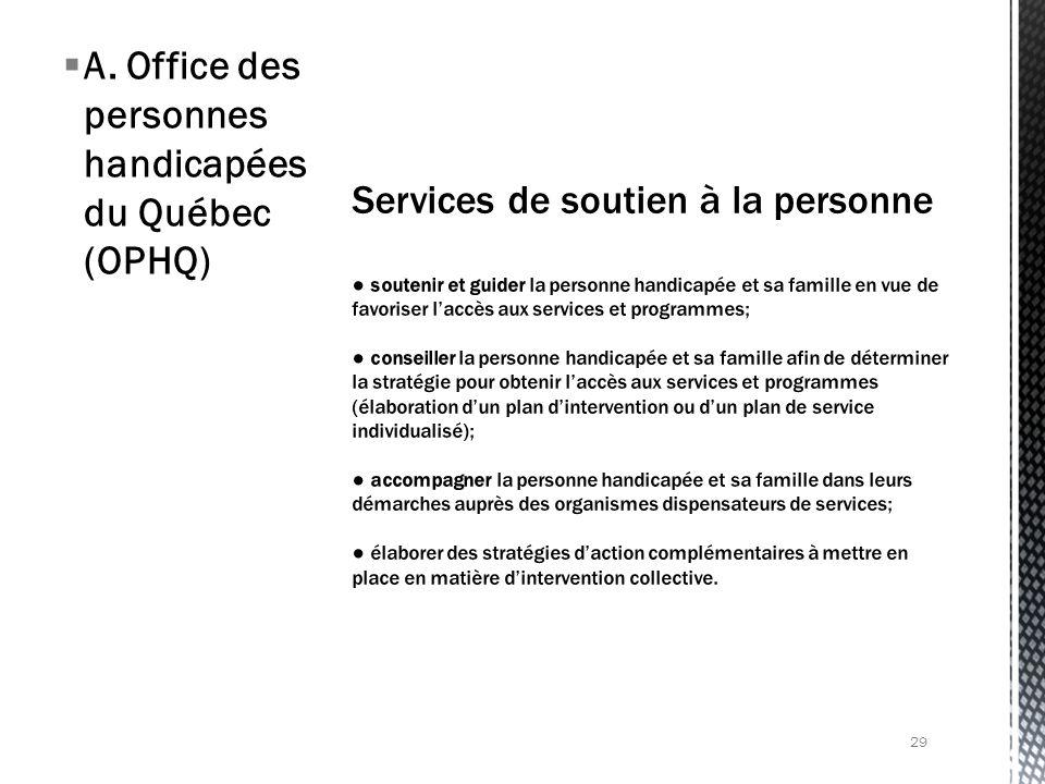 A. Office des personnes handicapées du Québec (OPHQ) 29