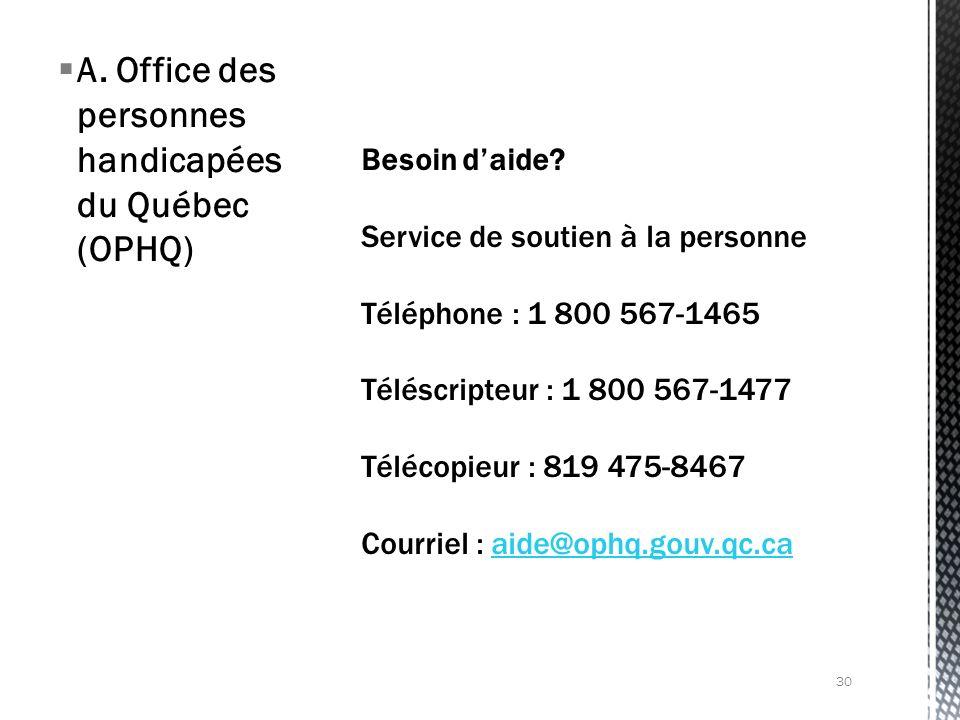 A. Office des personnes handicapées du Québec (OPHQ) 30