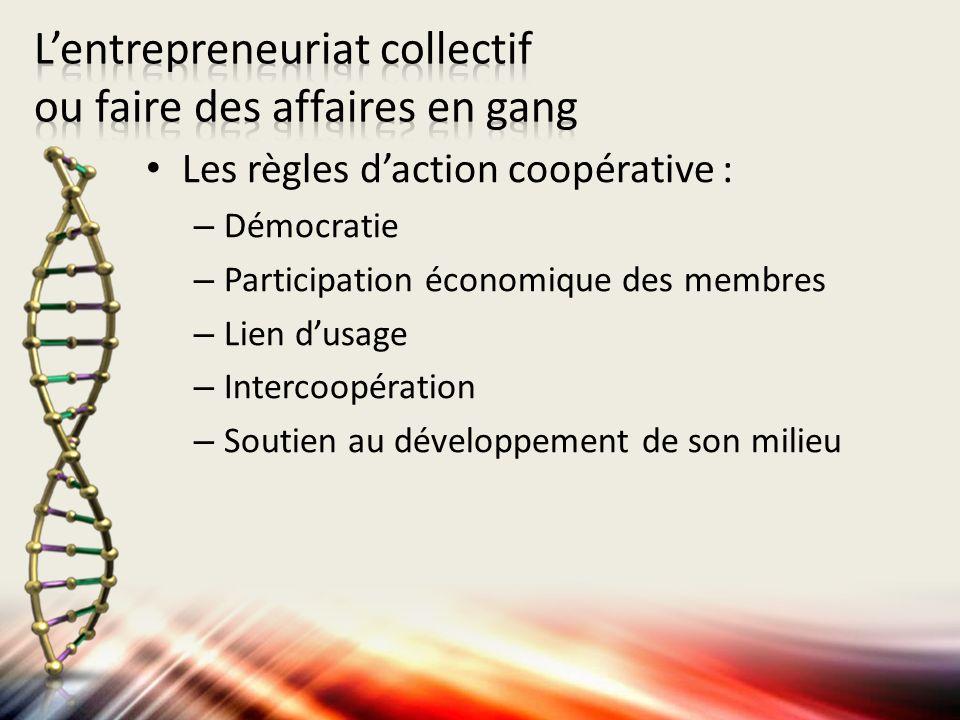Les règles daction coopérative : – Démocratie – Participation économique des membres – Lien dusage – Intercoopération – Soutien au développement de so