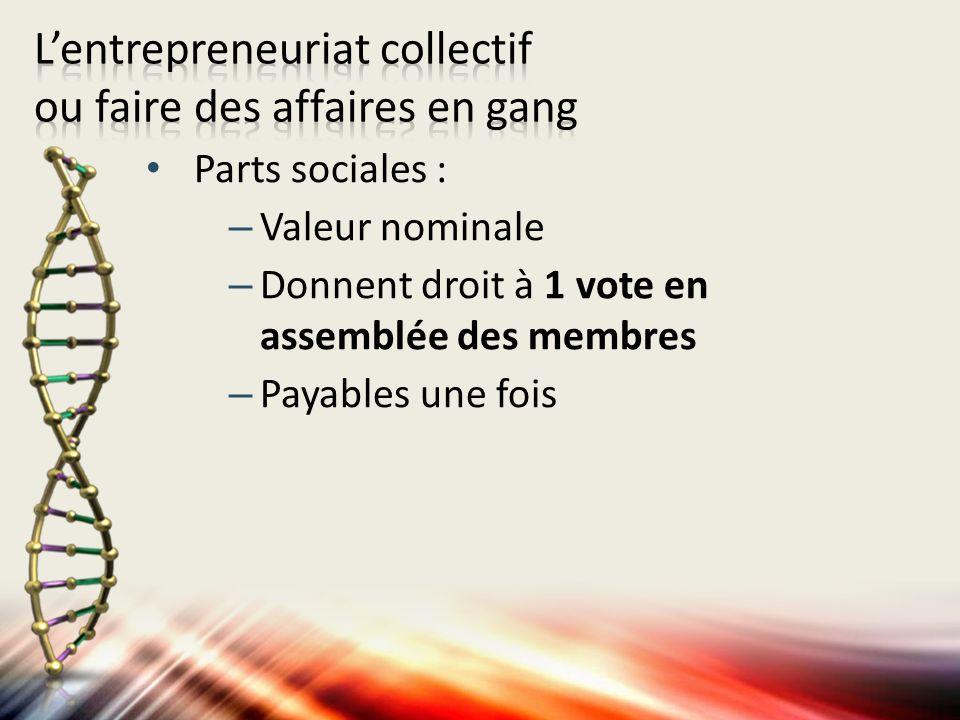 Parts sociales : –Valeur nominale –Donnent droit à 1 vote en assemblée des membres –Payables une fois