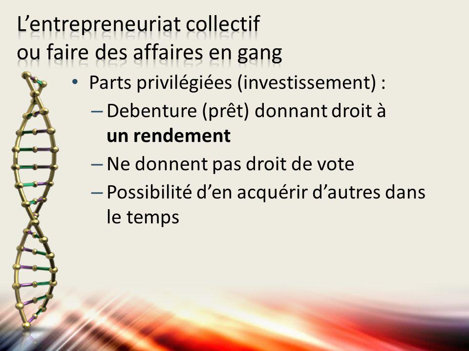 Parts privilégiées (investissement) : –Debenture (prêt) donnant droit à un rendement –Ne donnent pas droit de vote –Possibilité den acquérir dautres dans le temps