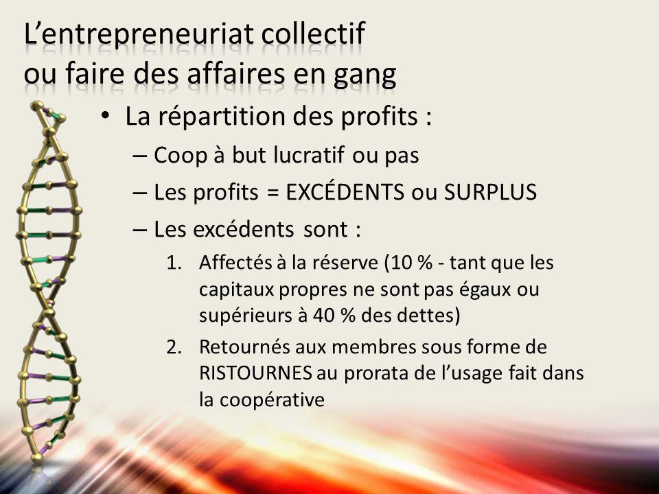 La répartition des profits : – Coop à but lucratif ou pas – Les profits = EXCÉDENTS ou SURPLUS – Les excédents sont : 1.Affectés à la réserve (10 % -