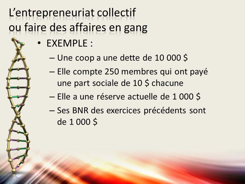 EXEMPLE : – Une coop a une dette de 10 000 $ – Elle compte 250 membres qui ont payé une part sociale de 10 $ chacune – Elle a une réserve actuelle de 1 000 $ – Ses BNR des exercices précédents sont de 1 000 $
