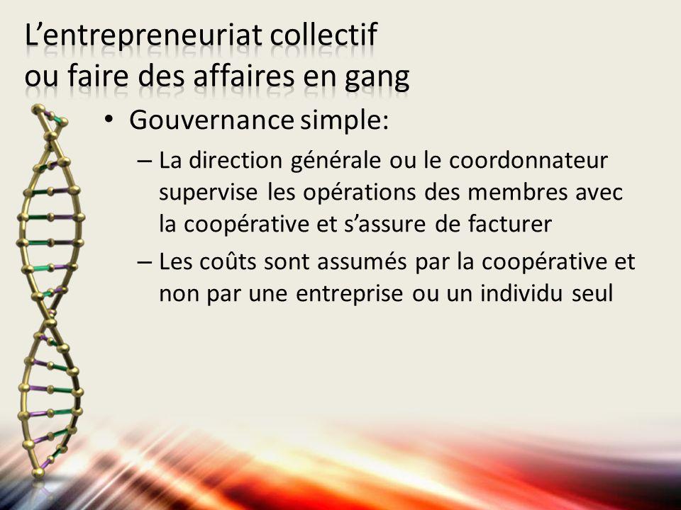 Gouvernance simple: – La direction générale ou le coordonnateur supervise les opérations des membres avec la coopérative et sassure de facturer – Les coûts sont assumés par la coopérative et non par une entreprise ou un individu seul