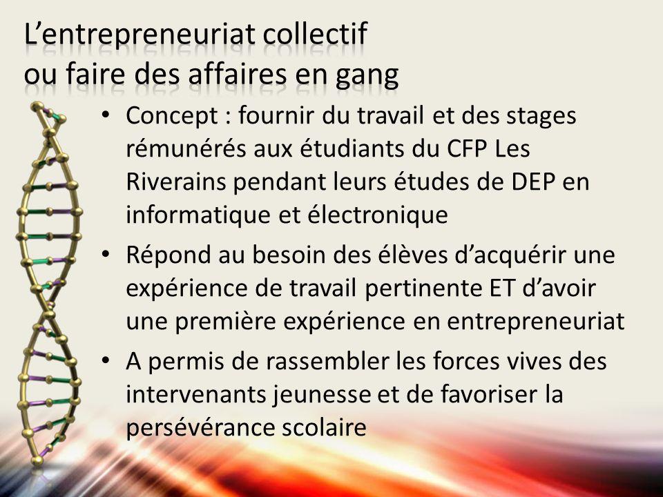 Concept : fournir du travail et des stages rémunérés aux étudiants du CFP Les Riverains pendant leurs études de DEP en informatique et électronique Ré