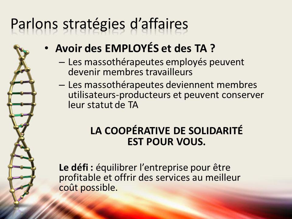 Avoir des EMPLOYÉS et des TA ? – Les massothérapeutes employés peuvent devenir membres travailleurs – Les massothérapeutes deviennent membres utilisat