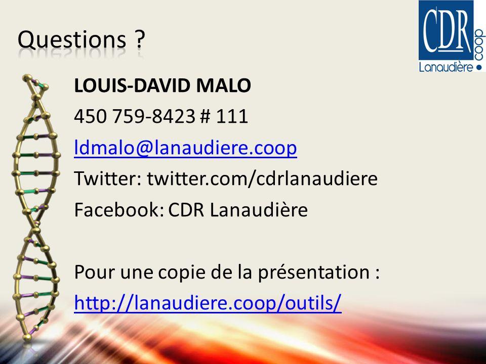 LOUIS-DAVID MALO 450 759-8423 # 111 ldmalo@lanaudiere.coop Twitter: twitter.com/cdrlanaudiere Facebook: CDR Lanaudière Pour une copie de la présentation : http://lanaudiere.coop/outils/