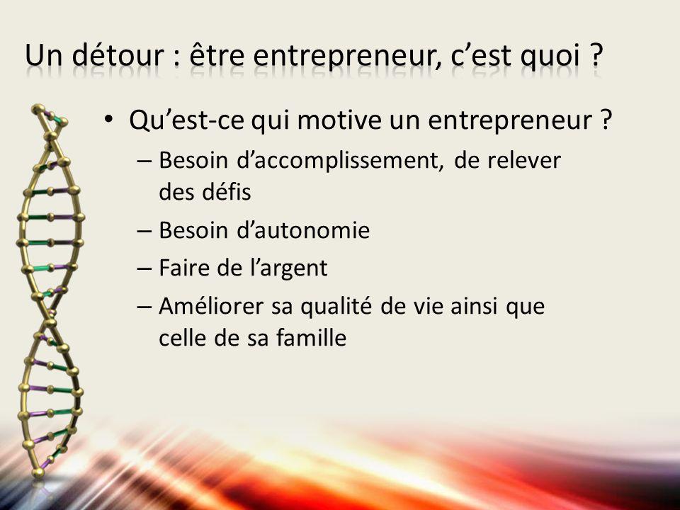 Quest-ce qui motive un entrepreneur ? – Besoin daccomplissement, de relever des défis – Besoin dautonomie – Faire de largent – Améliorer sa qualité de