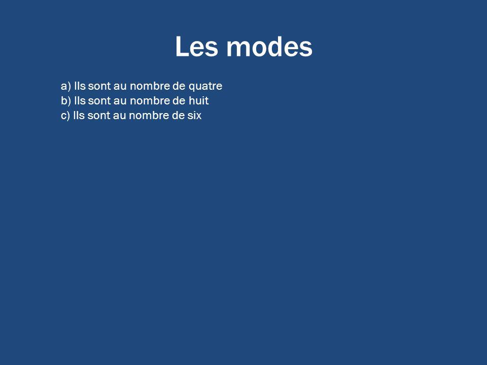 Les modes a) Ils sont au nombre de quatre b) Ils sont au nombre de huit c) Ils sont au nombre de six