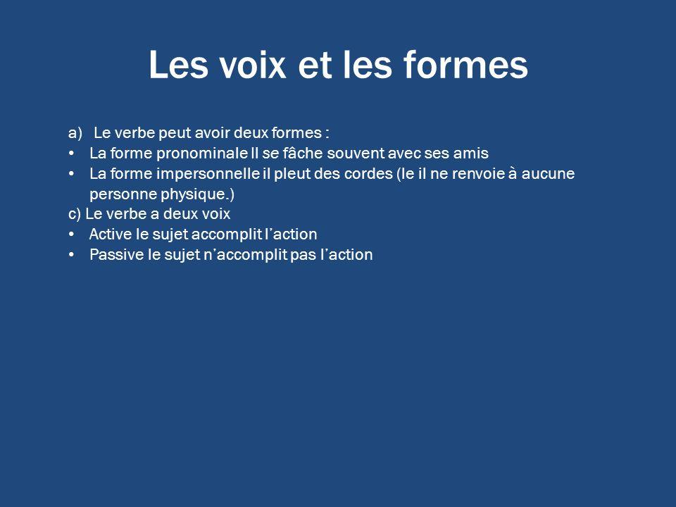 Les voix et les formes a)Le verbe peut avoir deux formes : La forme pronominale Il se fâche souvent avec ses amis La forme impersonnelle il pleut des