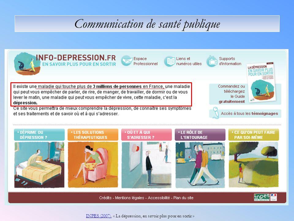 Communication de santé publique INPES (2007)INPES (2007), « La dépression, en savoir plus pour en sortir »