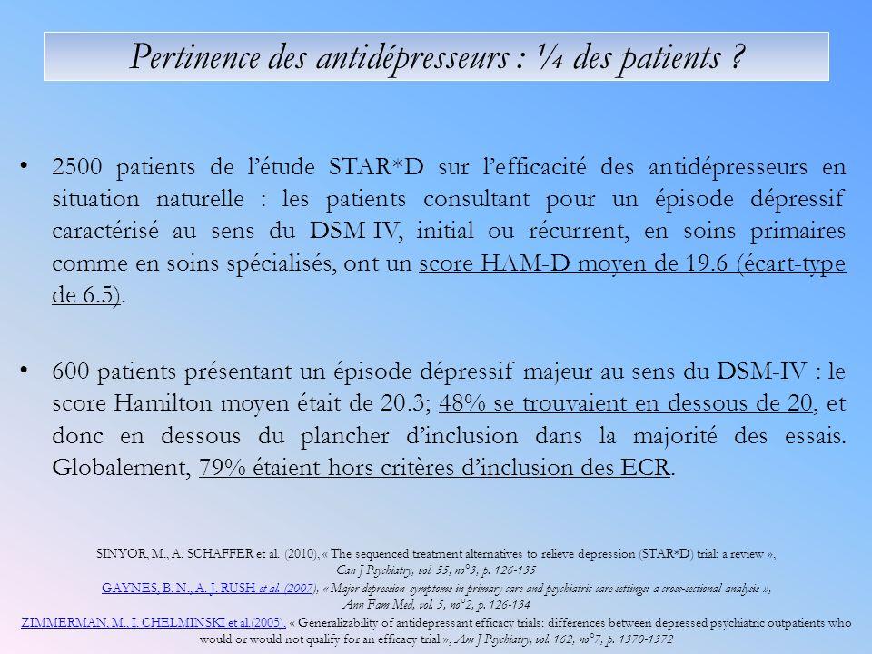 2500 patients de létude STAR*D sur lefficacité des antidépresseurs en situation naturelle : les patients consultant pour un épisode dépressif caractérisé au sens du DSM-IV, initial ou récurrent, en soins primaires comme en soins spécialisés, ont un score HAM-D moyen de 19.6 (écart-type de 6.5).