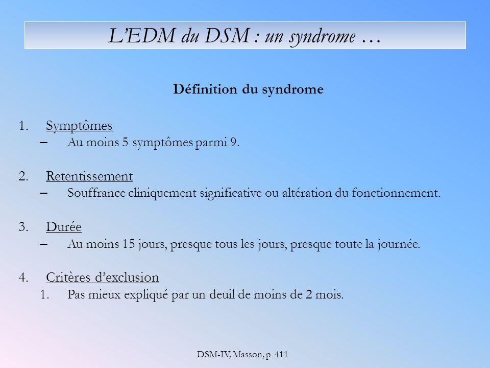 LEDM du DSM : un syndrome … Définition du syndrome 1.Symptômes – Au moins 5 symptômes parmi 9. 2.Retentissement – Souffrance cliniquement significativ