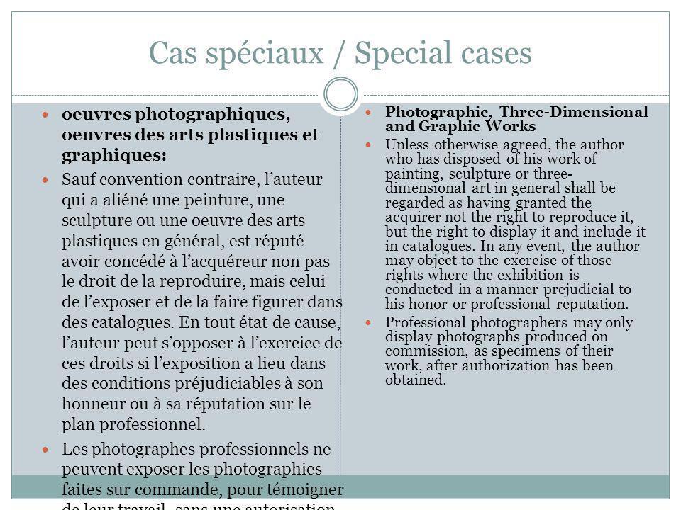 Cas spéciaux / Special cases oeuvres photographiques, oeuvres des arts plastiques et graphiques: Sauf convention contraire, lauteur qui a aliéné une p