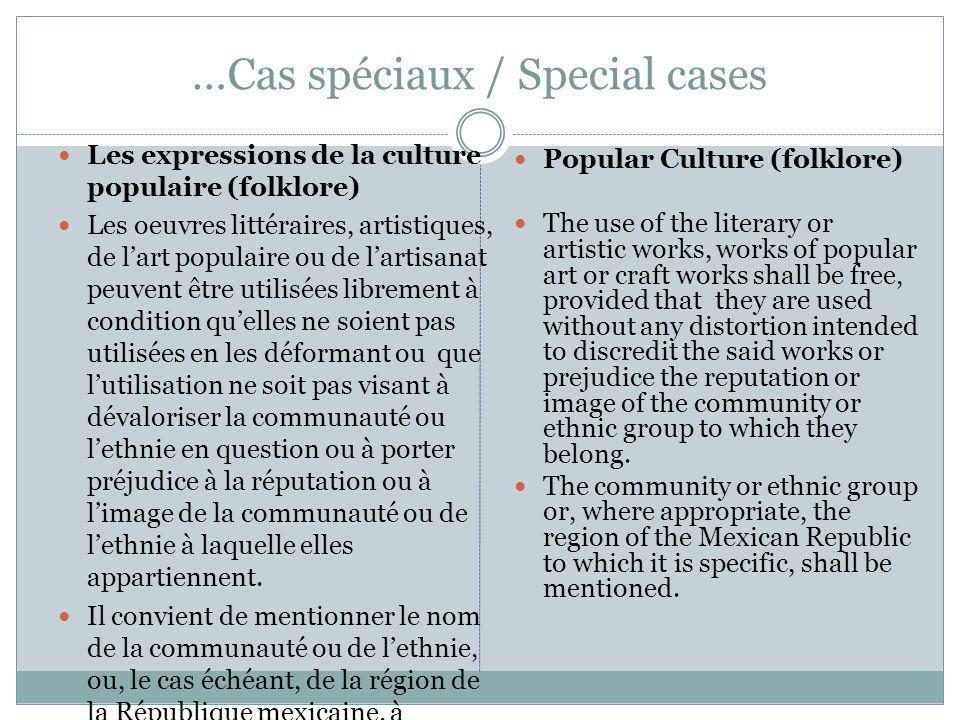 …Cas spéciaux / Special cases Les expressions de la culture populaire (folklore) Les oeuvres littéraires, artistiques, de lart populaire ou de lartisa