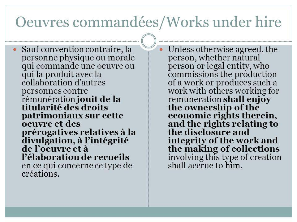 Oeuvres commandées/Works under hire Sauf convention contraire, la personne physique ou morale qui commande une oeuvre ou qui la produit avec la collab