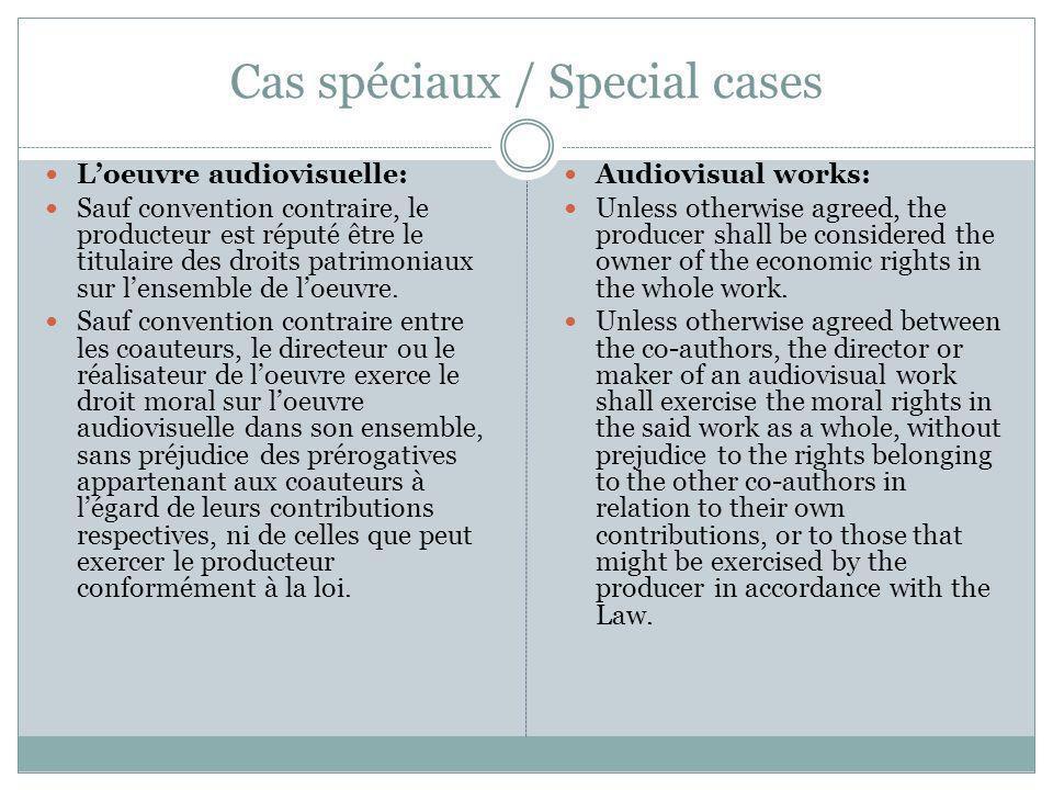 Cas spéciaux / Special cases Loeuvre audiovisuelle: Sauf convention contraire, le producteur est réputé être le titulaire des droits patrimoniaux sur lensemble de loeuvre.