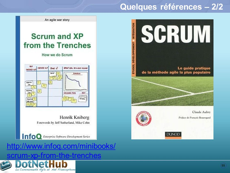 55 Quelques références – 2/2 http://www.infoq.com/minibooks/ scrum-xp-from-the-trenches