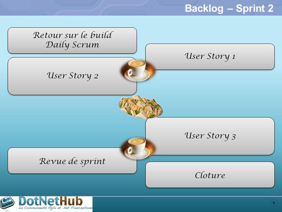 6 Backlog – Sprint 2 Retour sur le build Daily Scrum Retour sur le build Daily Scrum User Story 1 User Story 2 User Story 3 Revue de sprint Cloture