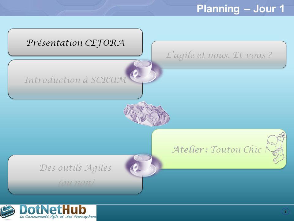 8 Planning – Jour 1 Introduction à SCRUM Atelier : Toutou Chic ! Des outils Agiles (ou non) Des outils Agiles (ou non) Présentation CEFORA Lagile et n