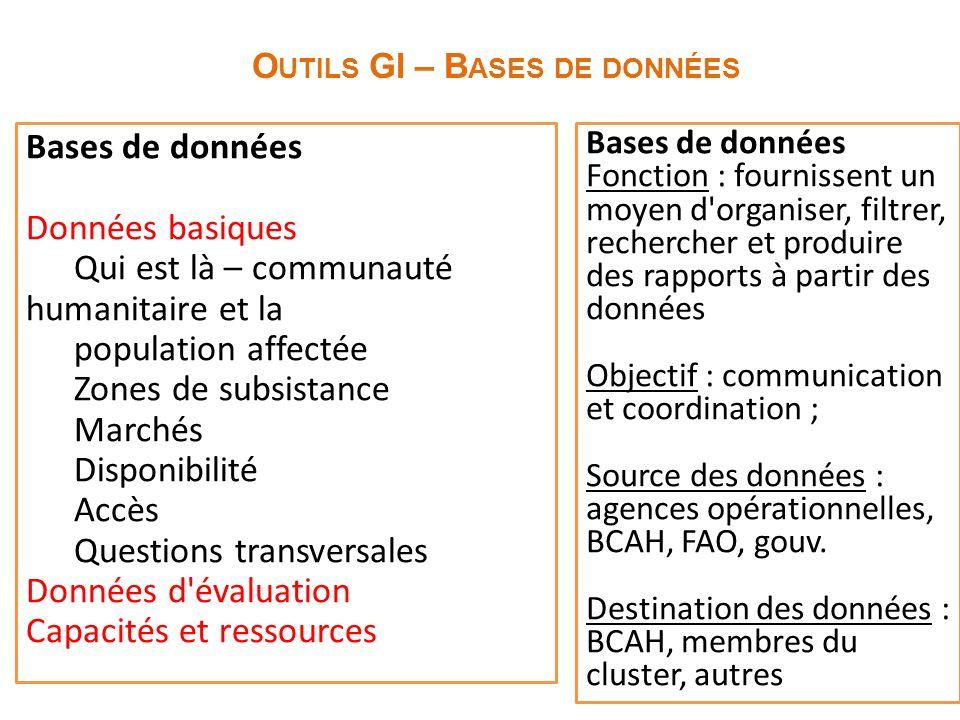 O UTILS GI – B ASES DE DONNÉES Bases de données Fonction : fournissent un moyen d'organiser, filtrer, rechercher et produire des rapports à partir des