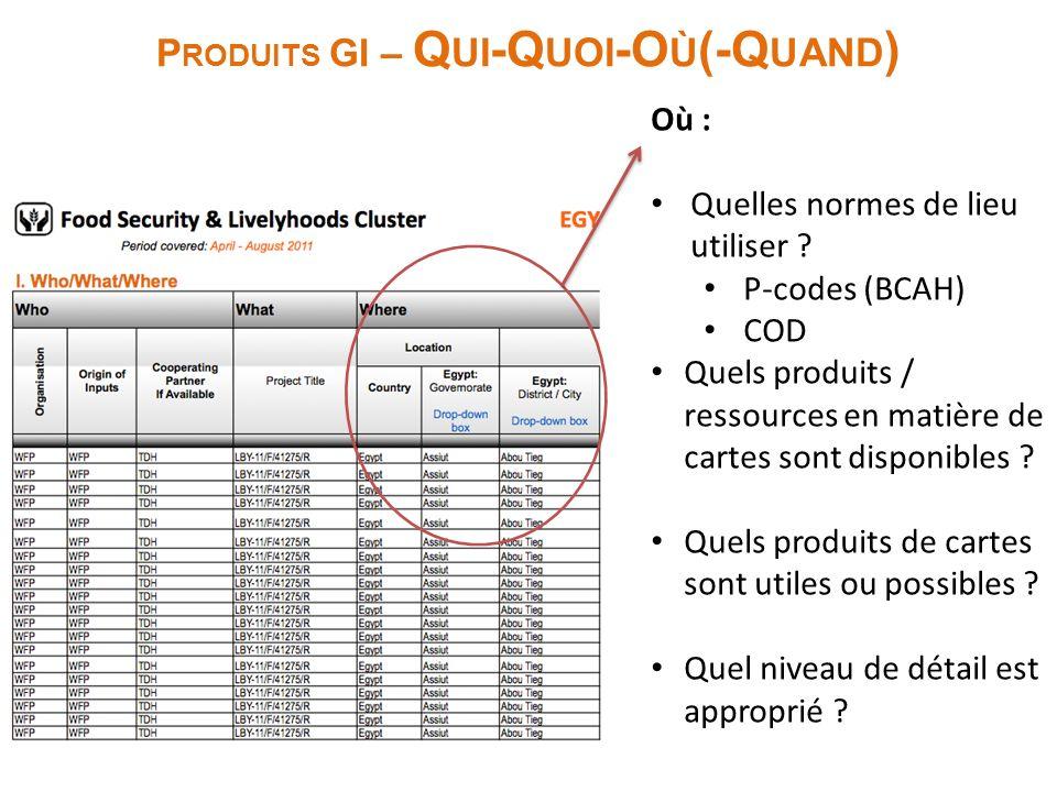 P RODUITS GI – Q UI -Q UOI -O Ù (-Q UAND ) Où : Quelles normes de lieu utiliser ? P-codes (BCAH) COD Quels produits / ressources en matière de cartes