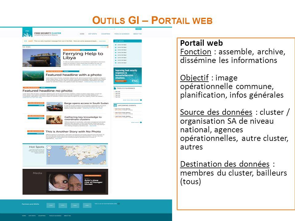 O UTILS GI – P ORTAIL WEB Portail web Fonction : assemble, archive, dissémine les informations Objectif : image opérationnelle commune, planification,