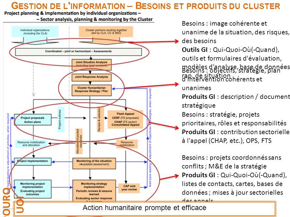 Programme d'intervention G ESTION DE L ' INFORMATION – B ESOINS ET PRODUITS DU CLUSTER Besoins : image cohérente et unanime de la situation, des risqu