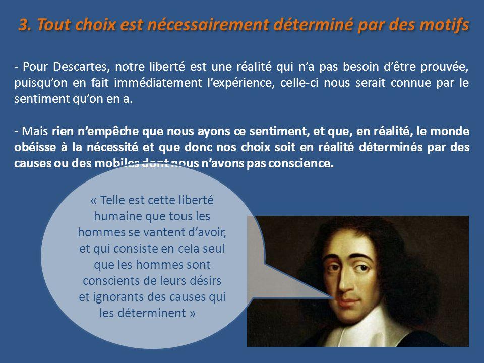 3. Tout choix est nécessairement déterminé par des motifs - Pour Descartes, notre liberté est une réalité qui na pas besoin dêtre prouvée, puisquon en