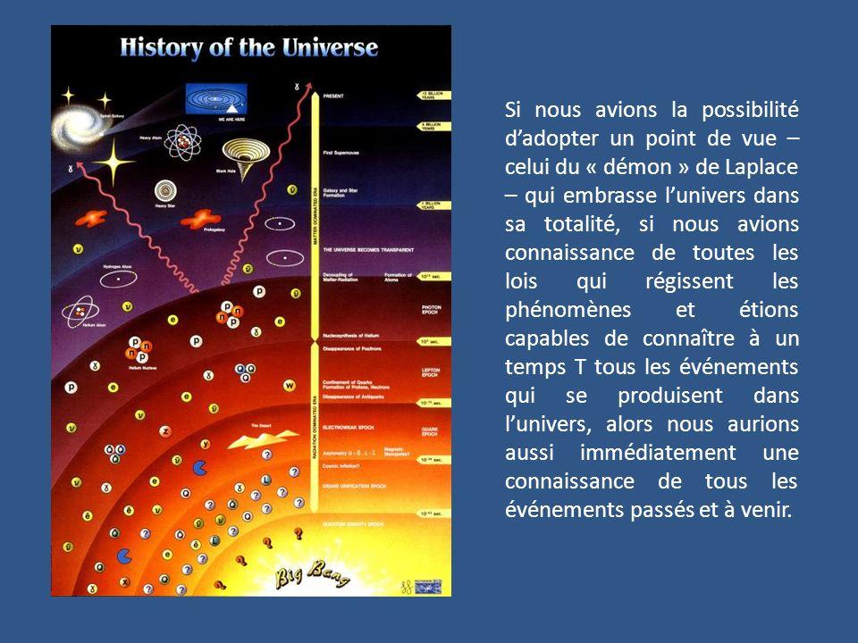 Si nous avions la possibilité dadopter un point de vue – celui du « démon » de Laplace – qui embrasse lunivers dans sa totalité, si nous avions connai
