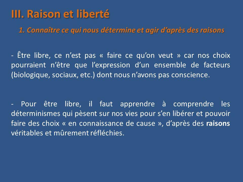III. Raison et liberté - Être libre, ce nest pas « faire ce quon veut » car nos choix pourraient nêtre que lexpression dun ensemble de facteurs (biolo