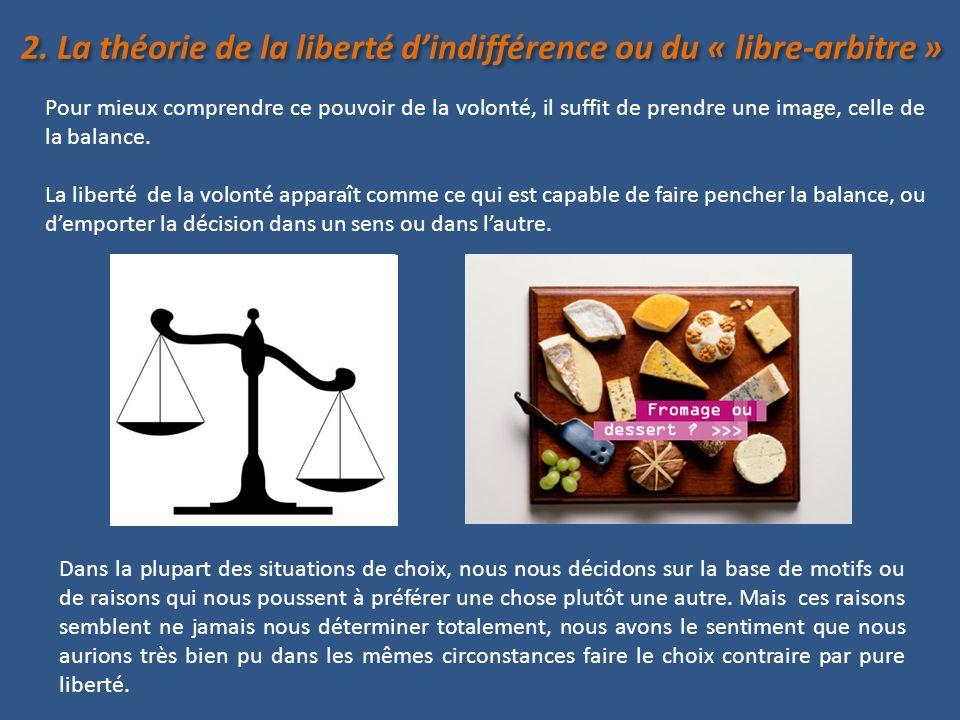 Notre liberté est telle que nous pourrions effectuer un choix même placé dans une situation d« indifférence », où nous naurions aucune raison de choisir, de préférer une option à une autre.