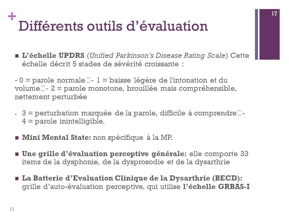 + Différents outils dévaluation Léchelle UPDRS (Unified Parkinson's Disease Rating Scale) Cette échelle décrit 5 stades de sévérité croissante : - 0 =